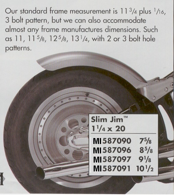 Milwaukee Iron Rear Self Support Rear Fenders for Harley